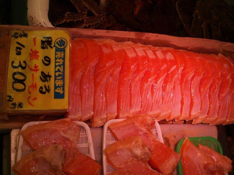 小樽の三角市場で購入したサーモンかま