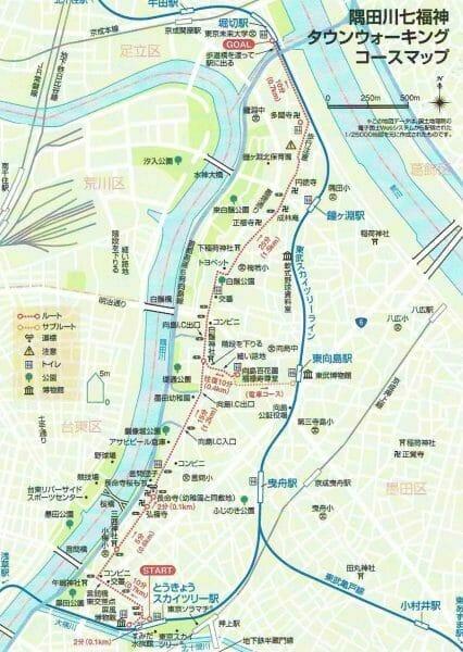 隅田川七福神巡りの地図