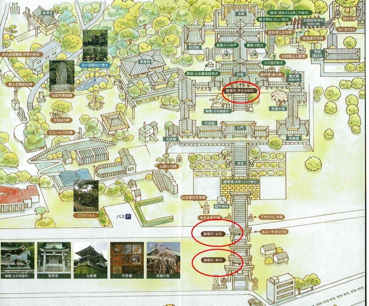 長崎諏訪神社で縁結びのご利益のある陰陽石の位置を表したMAP