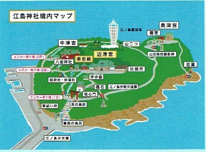 江ノ島神社の境内マップ