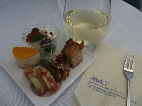 ANAビジネスクラス羽田発ニューヨーク直行便の機内食