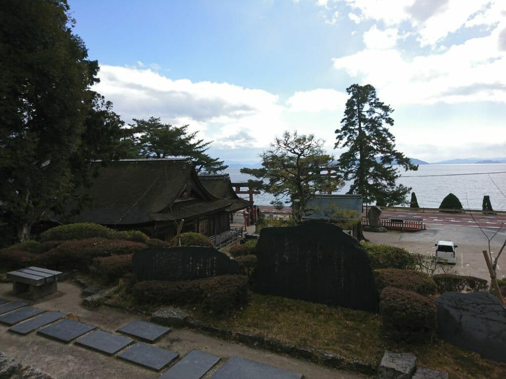 白鬚神社の境内から見える琵琶湖