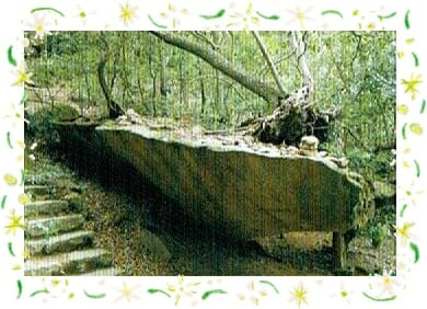 宮島の弥山登山道にある奇岩舟岩