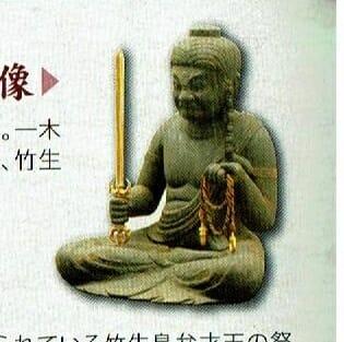 竹生島現存最古の彫像。