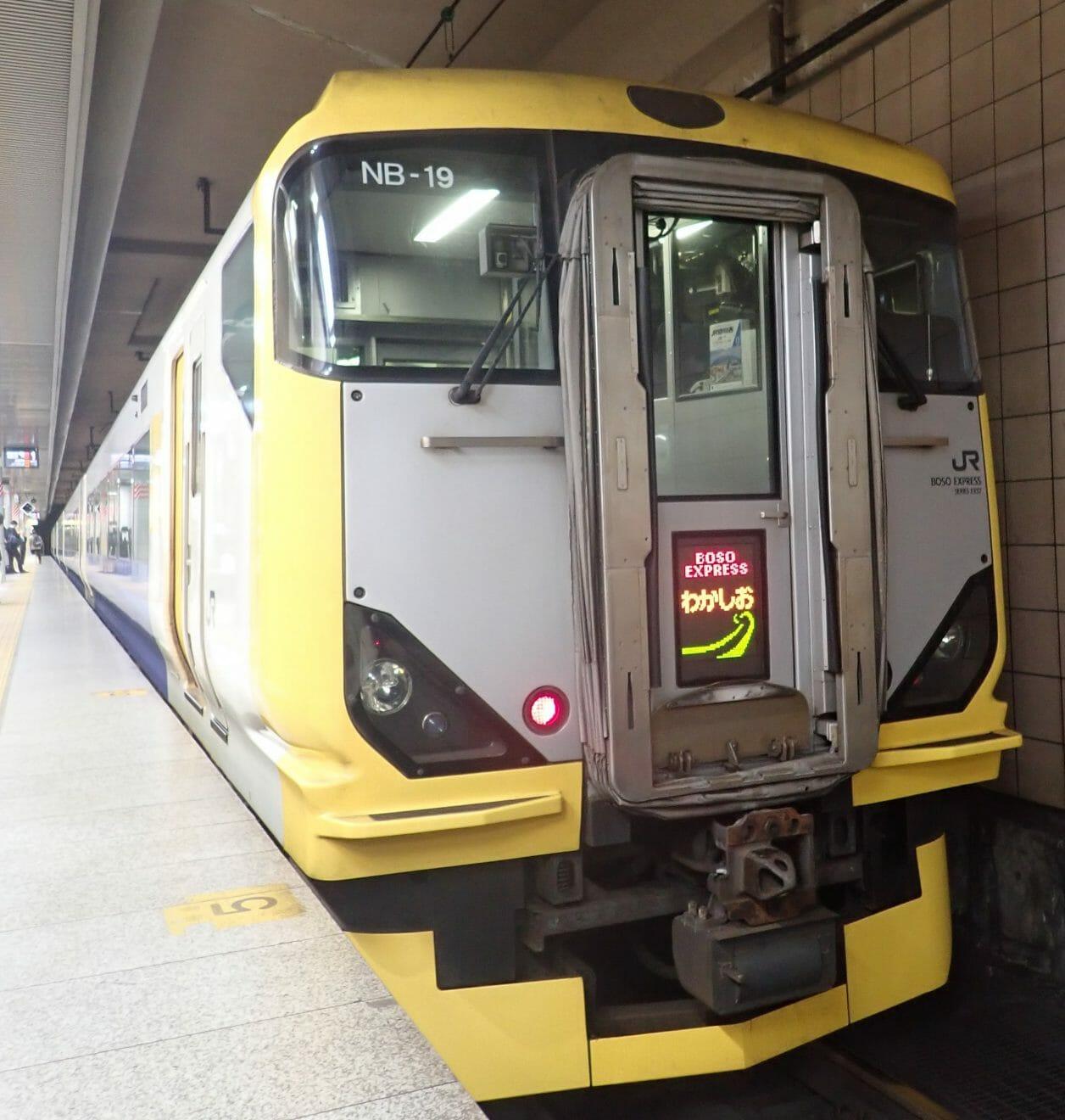 東京駅から安房鴨川駅まで特急若潮に乗りました