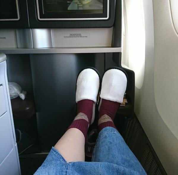 ユナイテッド航空ビジネスクラスのスリッパ