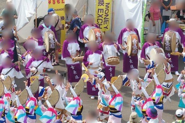 ダイヤモンドプリンセスの徳島入港の歓迎で阿波踊りの蓮